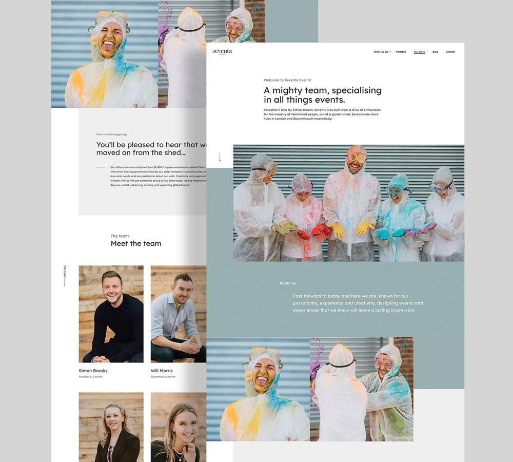 seventa about page mockup